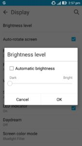 Android Screen brightness level